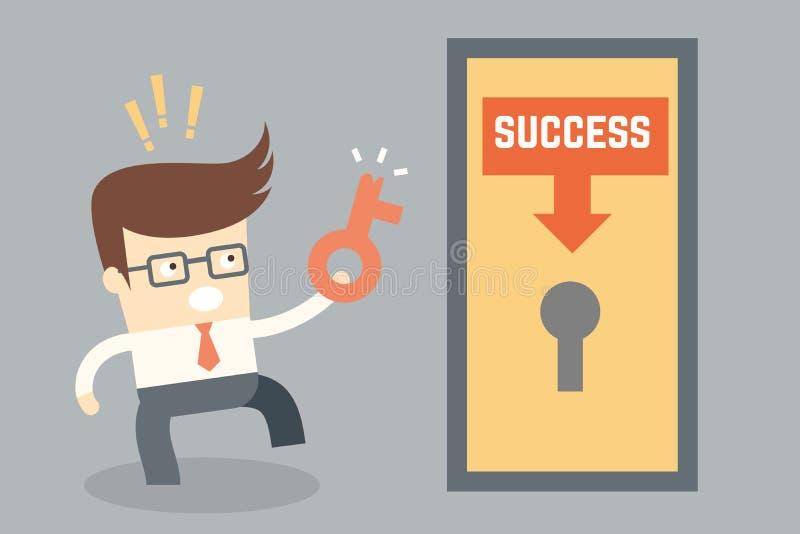 Biznesowego postać z kreskówki konceptualny projekt dla kluczowego sukcesu fai ilustracja wektor