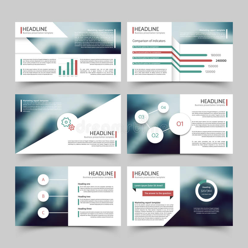 Biznesowego prezentacja marketingu korporacyjnego raportu wektorowi szablony z diagramów i map infographics elementami royalty ilustracja