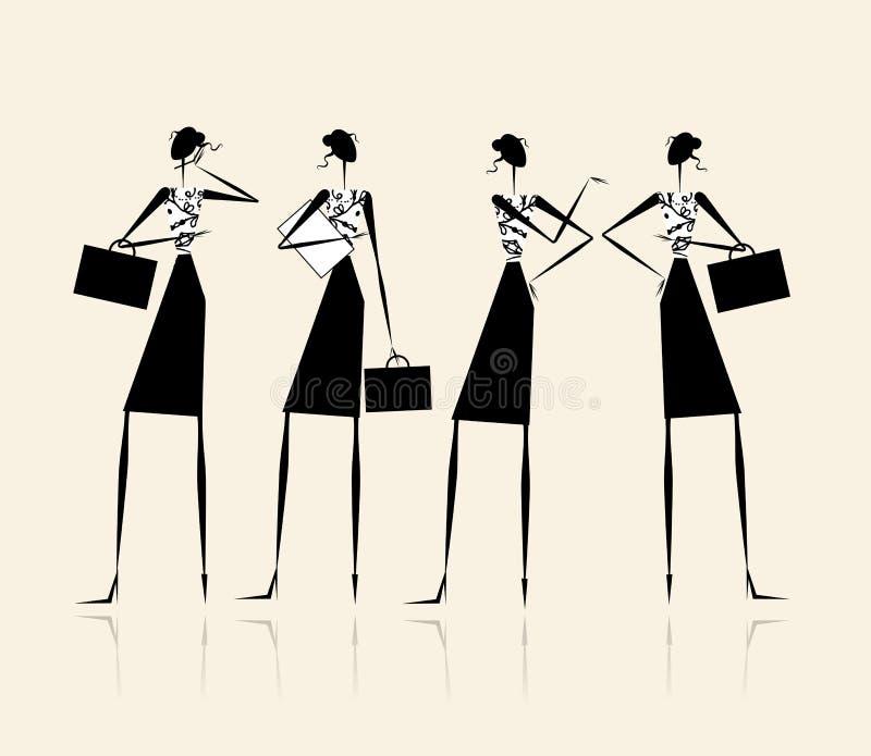 biznesowego projekta damy silhouette twój royalty ilustracja
