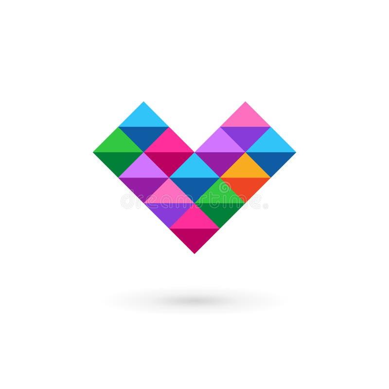Biznesowego projekta szablonu loga ikona z listem V i sercem ilustracja wektor