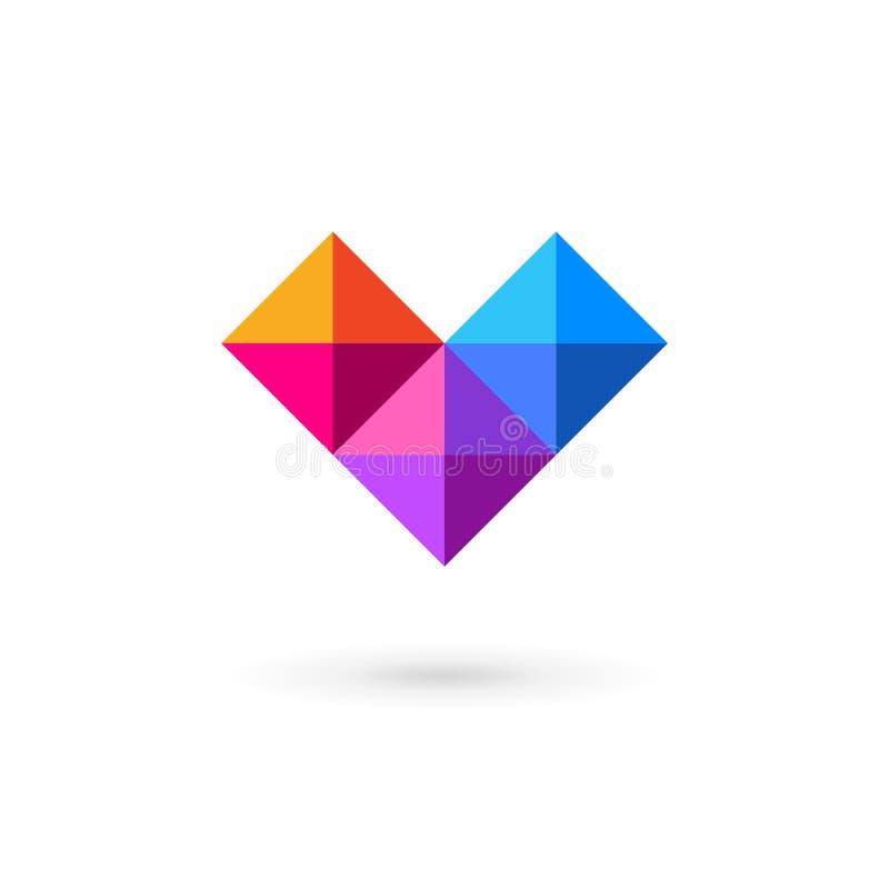 Biznesowego projekta szablonu loga ikona z listem V i sercem royalty ilustracja
