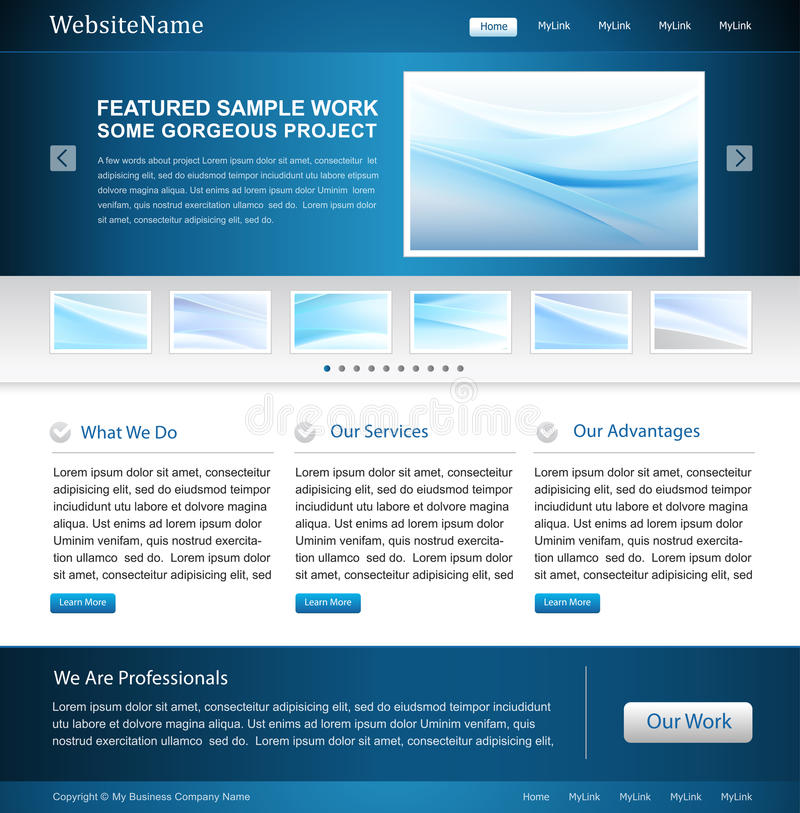 biznesowego projekta szablonu strona internetowa royalty ilustracja