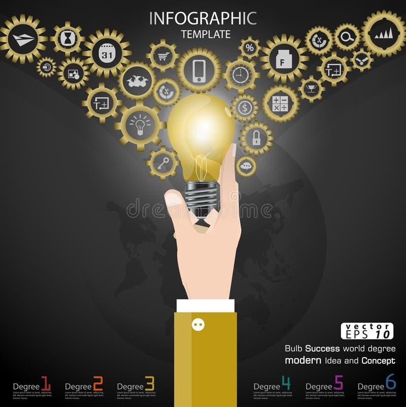 Biznesowego ręka chwyta żarówki sukcesu światowy stopień Brainstorming nowożytnego pomysłu i pojęcia Infographic Wektorowego ilus royalty ilustracja