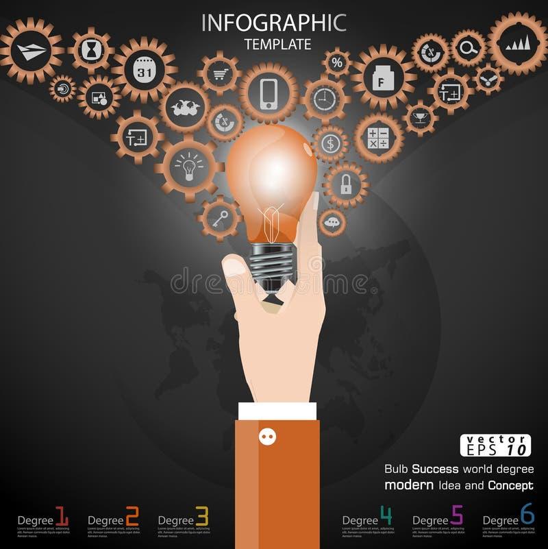 Biznesowego ręka chwyta żarówki sukcesu światowy stopień Brainstorming nowożytnego pomysłu i pojęcia Infographic Wektorowego ilus ilustracji