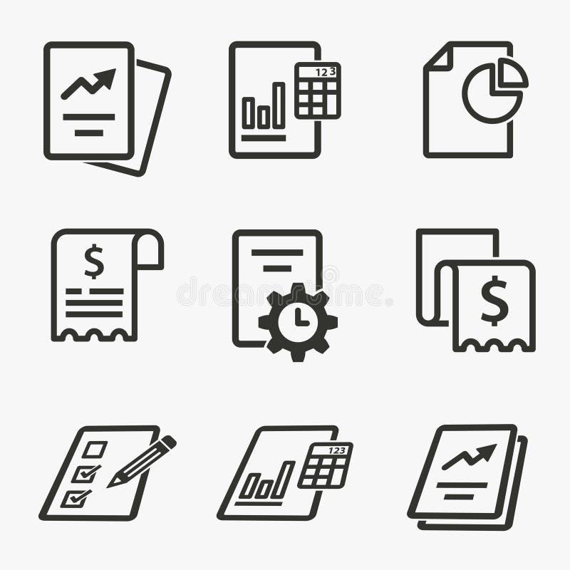 Biznesowego raportu ikony set Ilustracje odizolowywać na bielu ilustracja wektor