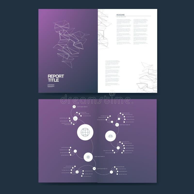 Biznesowego raportu szablon z infographics elementami dla firmy struktury analizy i prezentaci wykresów, mapy ilustracji