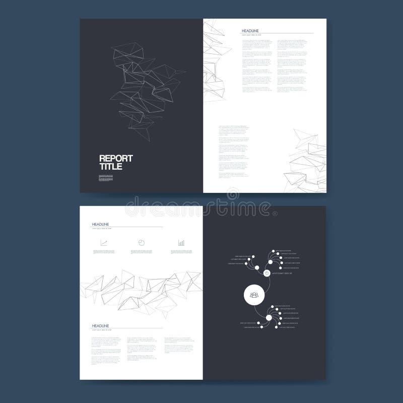 Biznesowego raportu szablon z infographics elementami dla firmy struktury analizy i prezentaci wykresów, mapy ilustracja wektor
