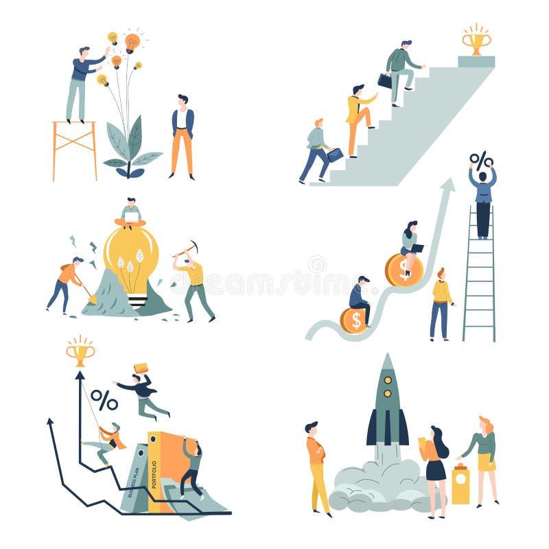 Biznesowego rozpoczęcia pracy zespołowej pomysłu firmy kariera i przedsiębiorczość ilustracja wektor