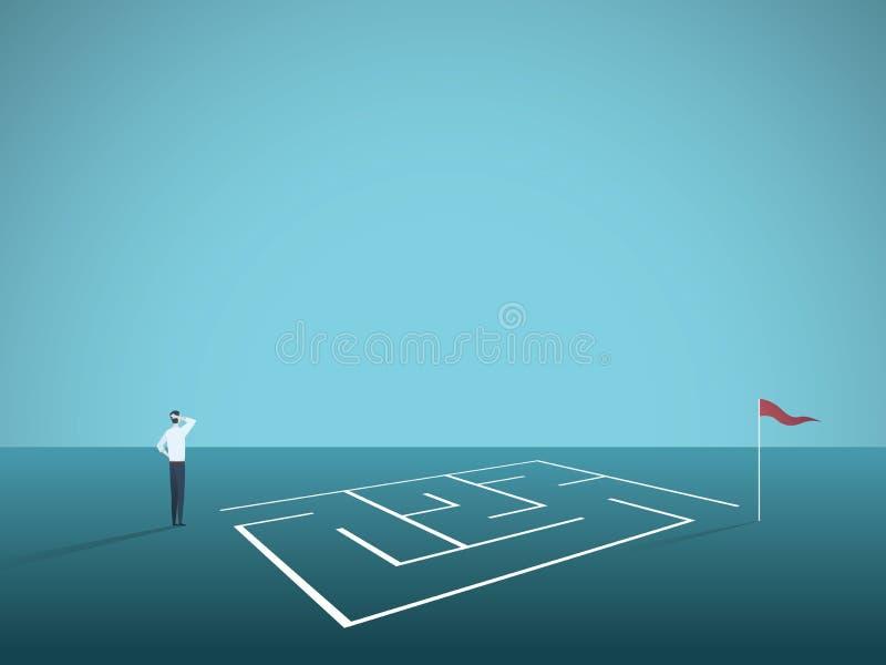 Biznesowego rozwiązania wektorowy pojęcie z biznesmen pozycją przed labiryntem, labitynt Symbol wyzwanie, strategia ilustracji
