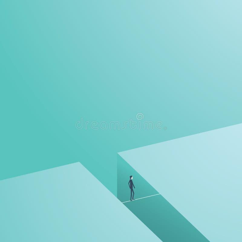 Biznesowego ryzyka i wyzwania pojęcia wektoru ilustracja Businesmsan odprowadzenie na balansowanie na linie jako symbol odwaga ilustracja wektor