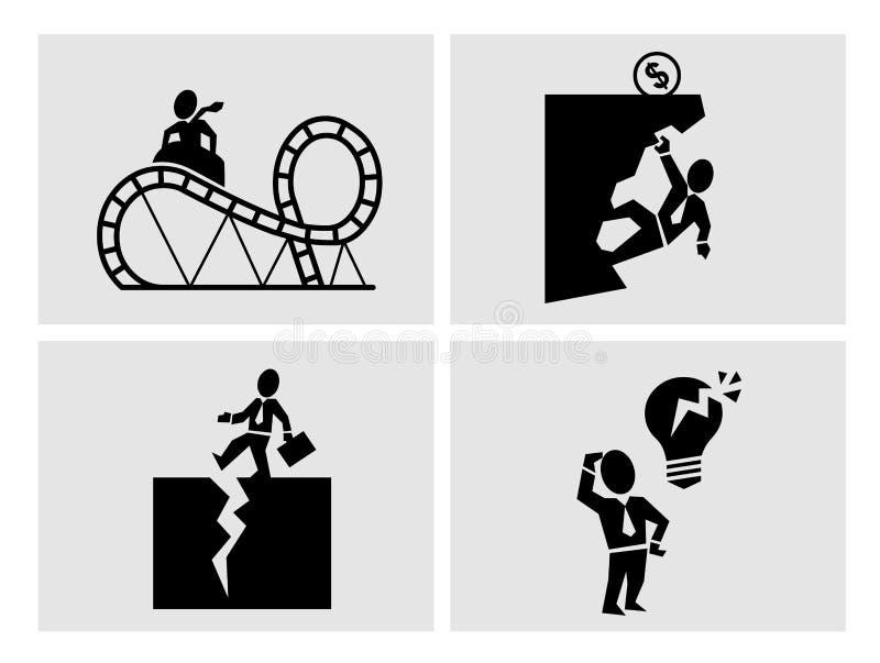 Biznesowego ryzyka ikony ilustracja wektor