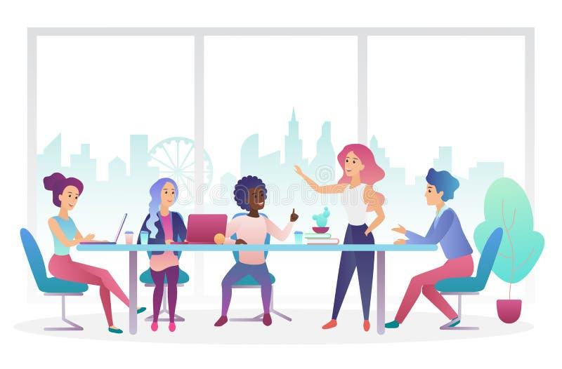 Biznesowego spotkania biurowa izbowa płaska wektorowa ilustracja royalty ilustracja