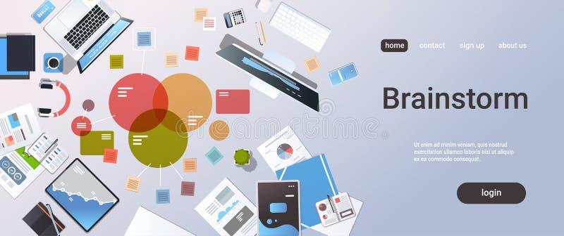 Biznesowego spotkania brainstorming analizuje planistycznych dokument?w wykresy sporz?dza map? zarz?dzania projektem poj?cia odg? royalty ilustracja