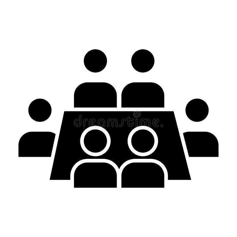 Biznesowego spotkania bryły ikona Konferencyjna wektorowa ilustracja odizolowywająca na bielu Seminaryjny glifu stylu projekt, pr royalty ilustracja