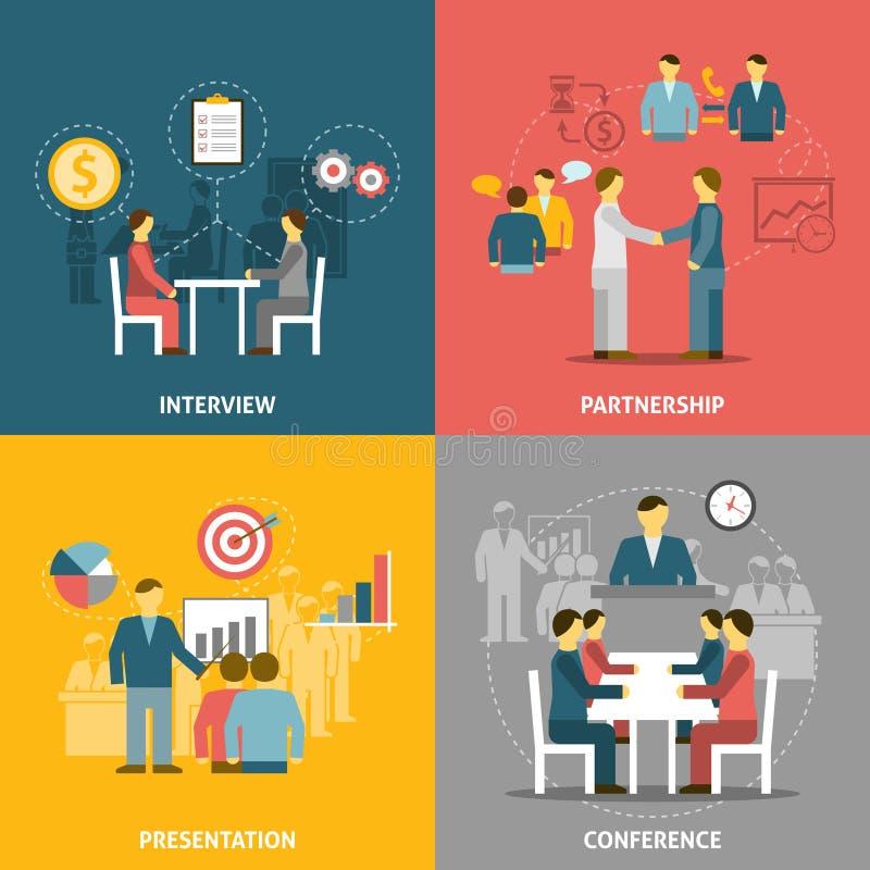 Biznesowego spotkania ikon Płaski skład ilustracji