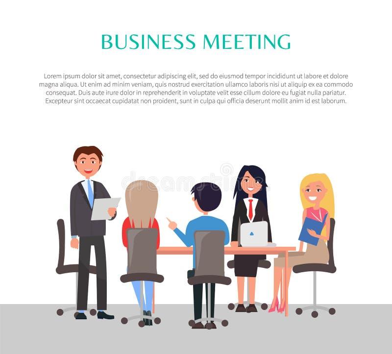 Biznesowego spotkania plakat z pracownikami Wokoło stołu royalty ilustracja
