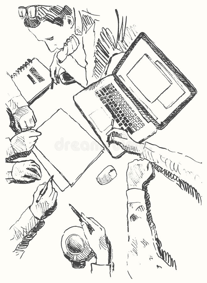 Biznesowego spotkania pojęcia odgórnego widoku nakreślenia ludzie ilustracji