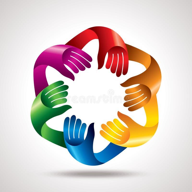 Biznesowego spotkania praca zespołowa z rękami, ilustracji