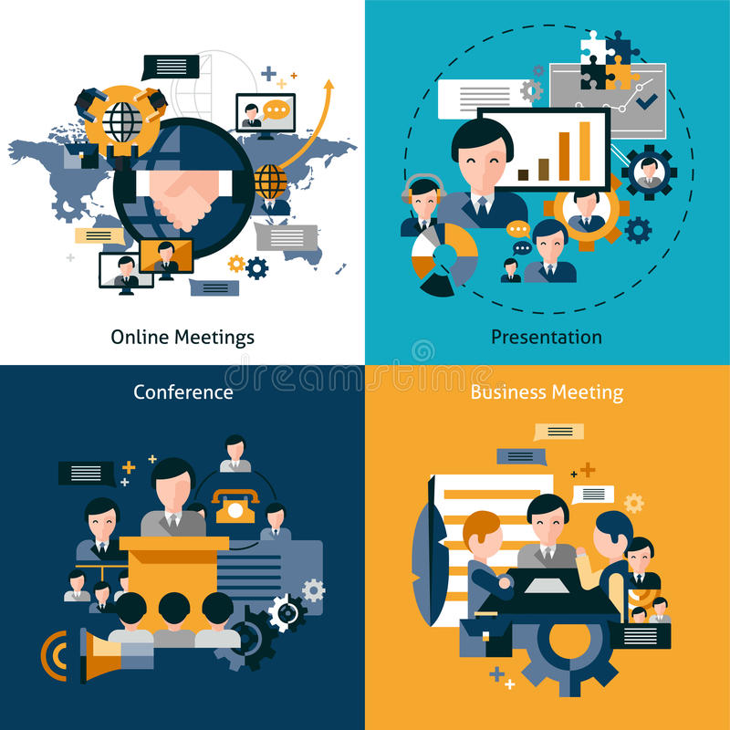 Biznesowego spotkania set ilustracja wektor