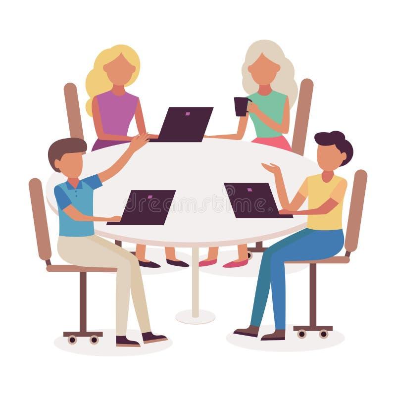 Biznesowego spotkania wektorowa ilustracja z drużyną młodzi człowiecy i kobiety brainstorming zadania i dyskutuje ilustracji