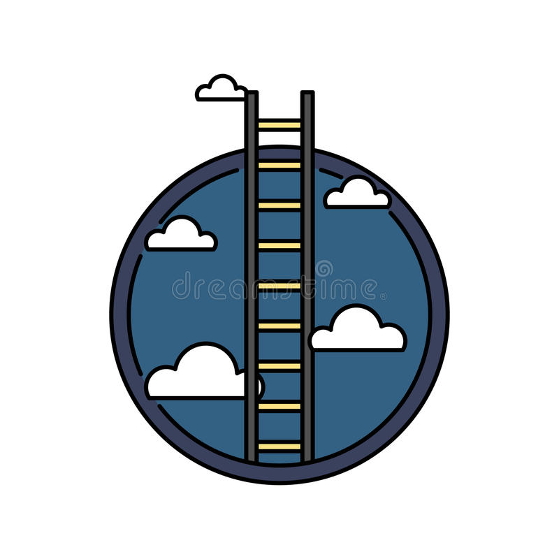 Biznesowego sukcesu drabina niebo, retro barwiona kółkowa ikona, osiągnięcia pojęcie ilustracji