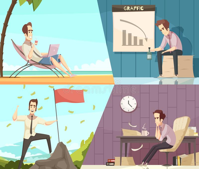 Biznesowego sukcesu niepowodzenia kreskówki sztandary royalty ilustracja