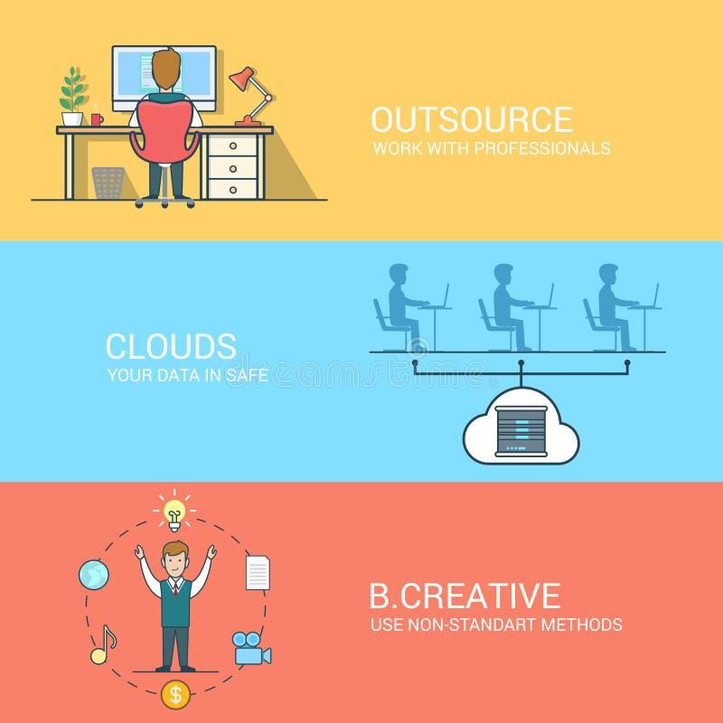 Biznesowego technologii kreatywnie pojęcia ikon płaski se royalty ilustracja