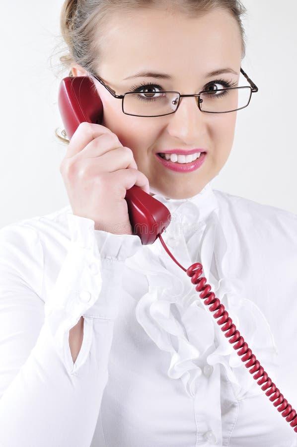 biznesowego telefonu target1596_0_ kobiety potomstwa zdjęcia royalty free