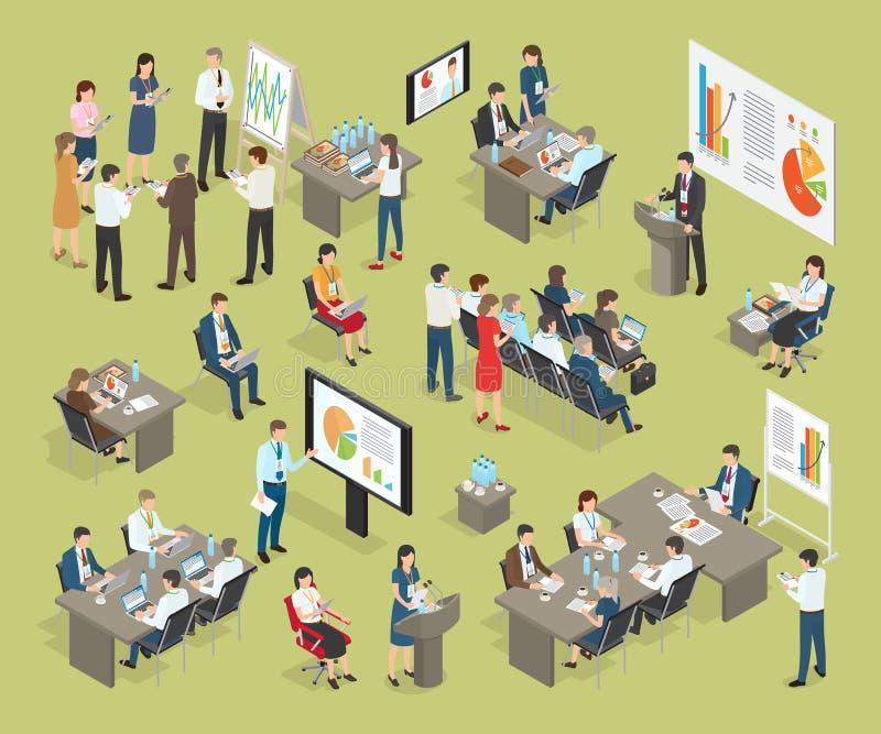 Biznesowego trenowania Wektorowa kolekcja w biurze royalty ilustracja