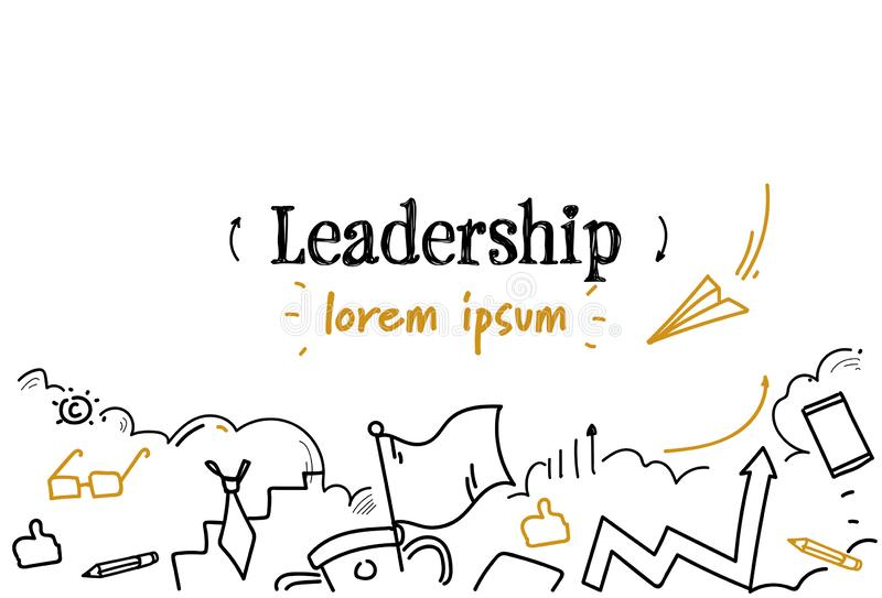 Biznesowego turniejowego przywódctwo pojęcia nakreślenia doodle kopii horyzontalna odosobniona przestrzeń royalty ilustracja