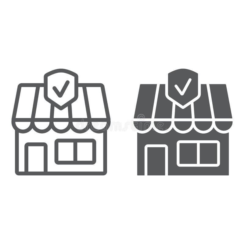 Biznesowego ubezpieczenia linia, glif ikona, nieruchomość i bezpieczeństwo, majątkowego ubezpieczenia znak, wektorowe grafika, li ilustracji