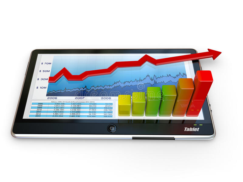 biznesowego wykresu komputeru osobisty ekranu pastylka royalty ilustracja