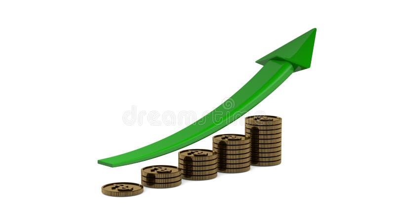 Biznesowego zysku przyrosta wykresu mapa z odbiciem ilustracji