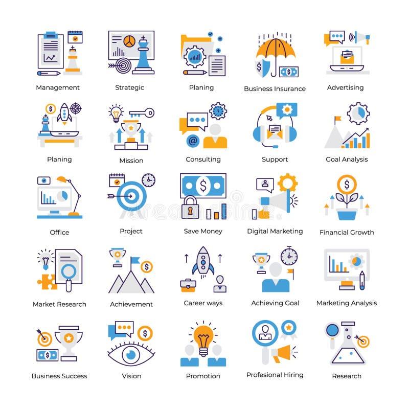 Biznesowej analizy ikon Płaska paczka ilustracja wektor