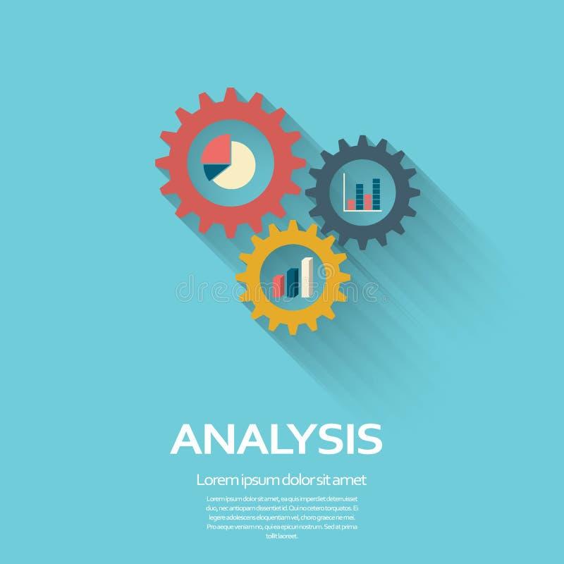 Biznesowej analizy symbol z przekładniami ikona i kulebiak royalty ilustracja