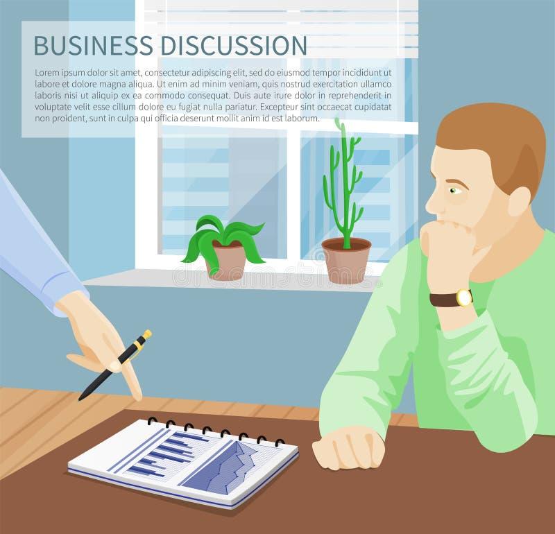 Biznesowej dyskusi Plakatowa Wektorowa ilustracja ilustracja wektor