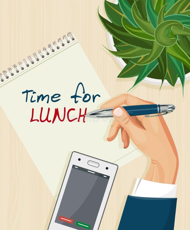 biznesowej filiżanki przydatny emisyjny lunch otwierał przestań tła rogalik filiżanki kawy sweet ilustracja wektor