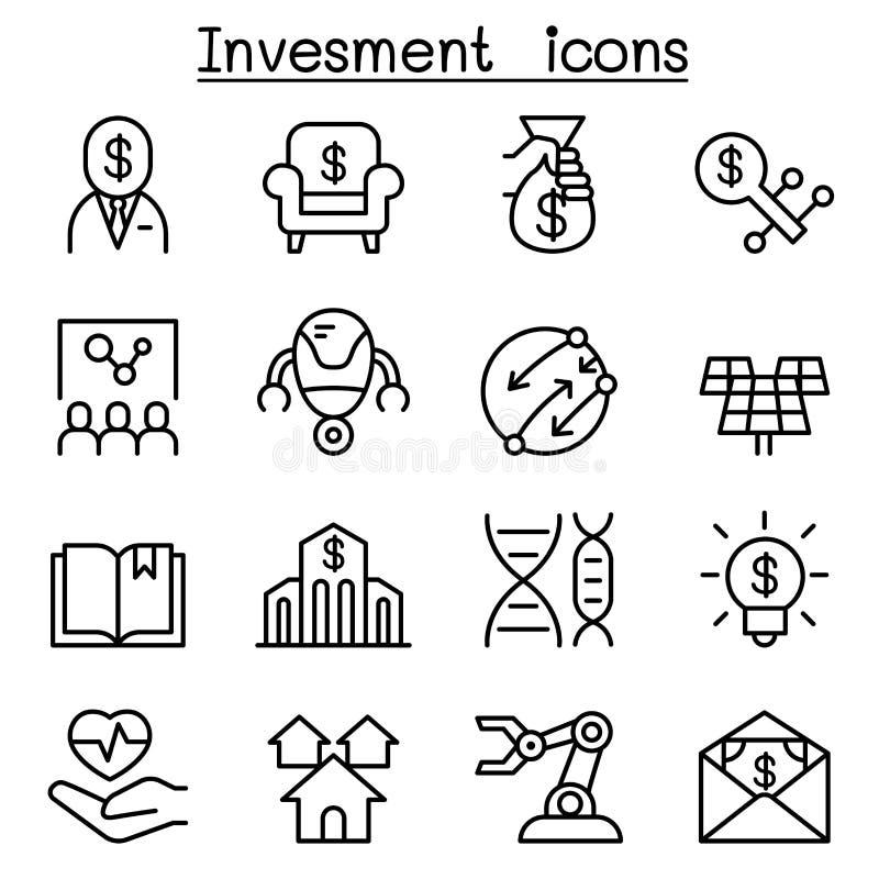 Biznesowej inwestyci ikona ustawiająca w cienkim kreskowym stylu royalty ilustracja