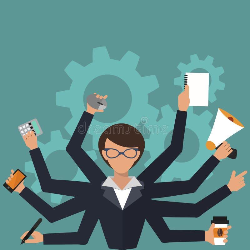 Biznesowej kobiety akcydensowego stresu biurowej pracy osoby kierownika wektorowy ilustracyjny charakter ilustracja wektor