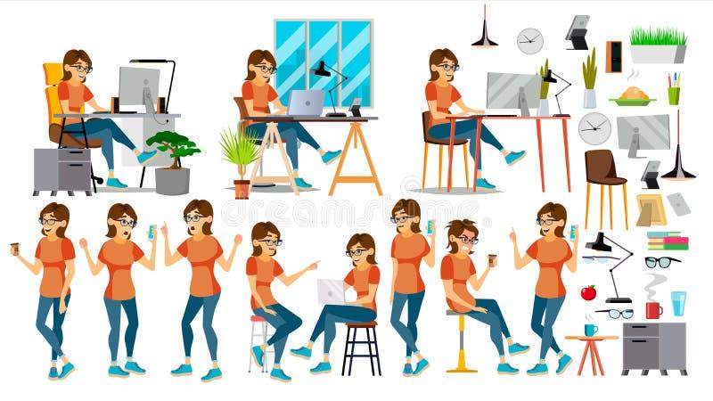 Biznesowej kobiety charakteru wektor W akci IT Rozpoczęcie Biznes Firma Środowisko proces _ kreskówka ilustracja wektor