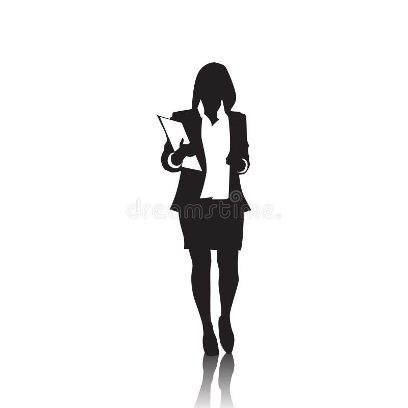 Biznesowej kobiety czerni sylwetka Folująca długość Nad Białym tłem ilustracji