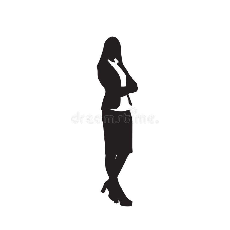 Biznesowej kobiety czerni sylwetka Folująca długość Nad Białym tłem ilustracja wektor
