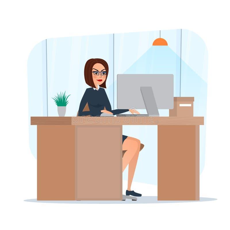 Biznesowej kobiety damy przedsiębiorca w kostiumu pracuje na laptopie royalty ilustracja