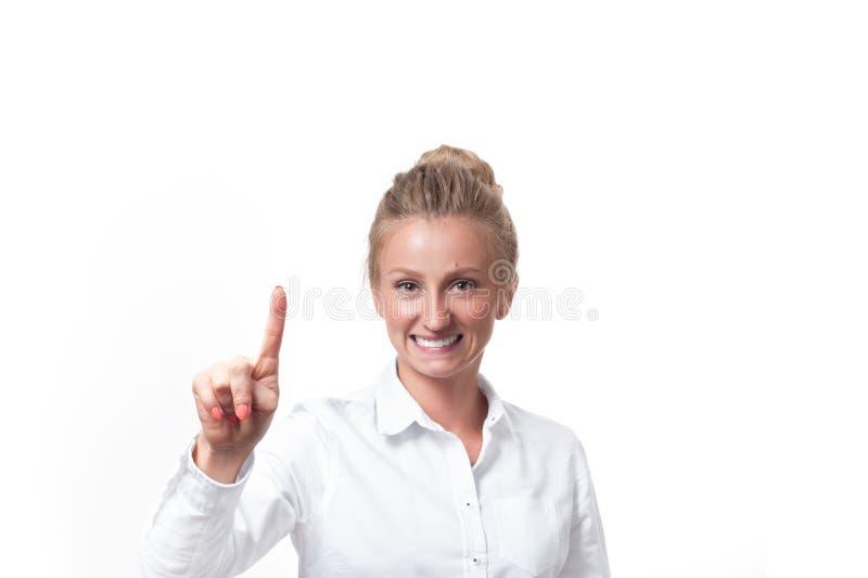 Biznesowej kobiety dosunięcie na wizualnym guziku obrazy royalty free