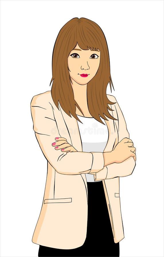 Biznesowej kobiety, dziewczyny anime ilustracyjny styl/ fotografia royalty free