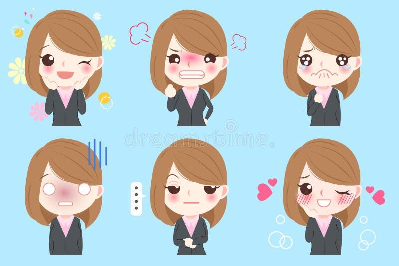 Biznesowej kobiety emoji set ilustracja wektor