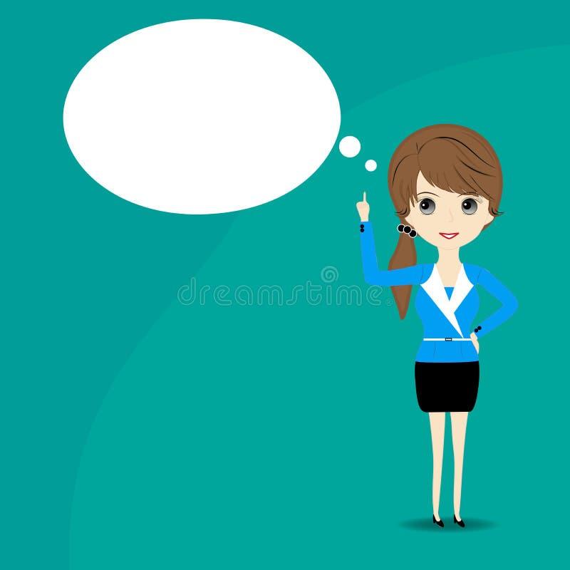 Biznesowej kobiety główkowanie z pustym mowa bąblem nad jej głową ilustracja wektor
