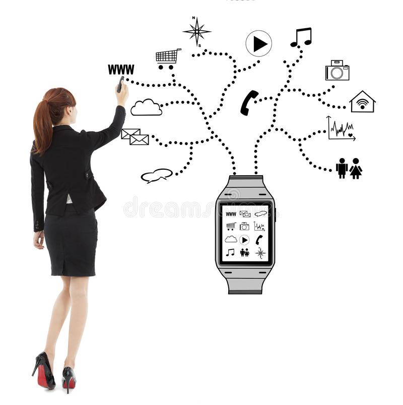Biznesowej kobiety handwriting zegarka noszoni zastosowania zdjęcie royalty free