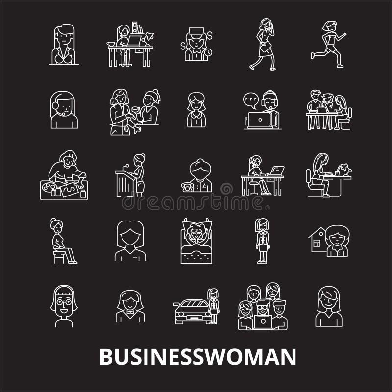 Biznesowej kobiety ikon editable kreskowy wektorowy ustawiający na czarnym tle Biznesowej kobiety konturu białe ilustracje, znaki royalty ilustracja