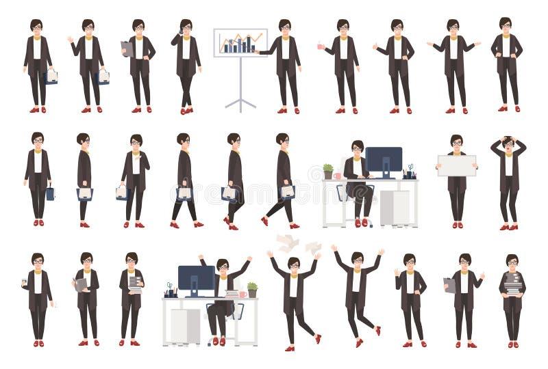 Biznesowej kobiety lub kobiety urzędnik ubierał w mądrze odzieży w różnych posturach, nastrojach, sytuacjach i wyrażać, ilustracja wektor